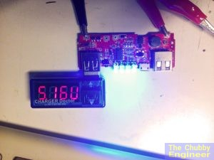 "The USB board powered from the battery pack. A ""Charger Doctor"" was used to check the voltage output on both ports."